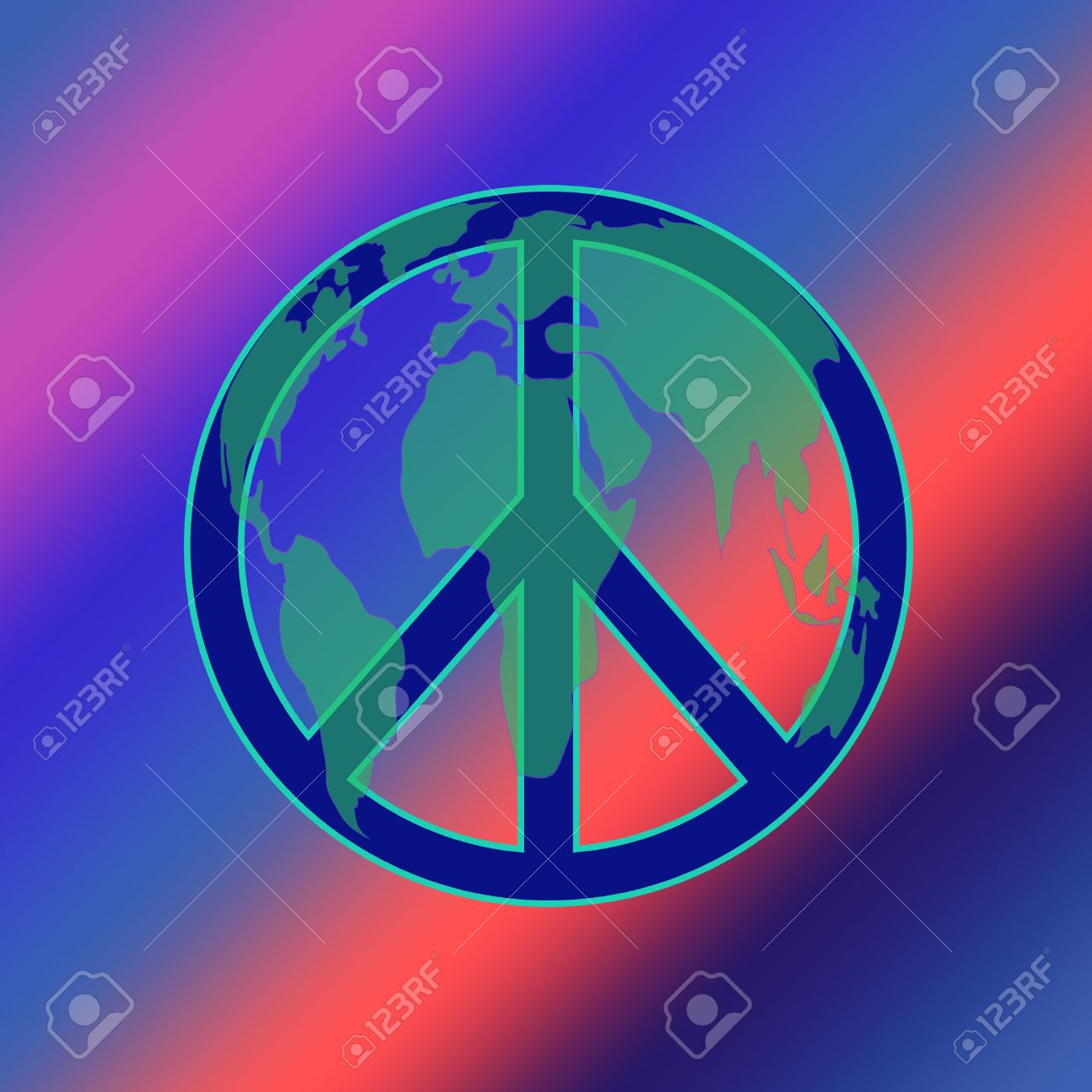 Peace symbol layered with a map of the world