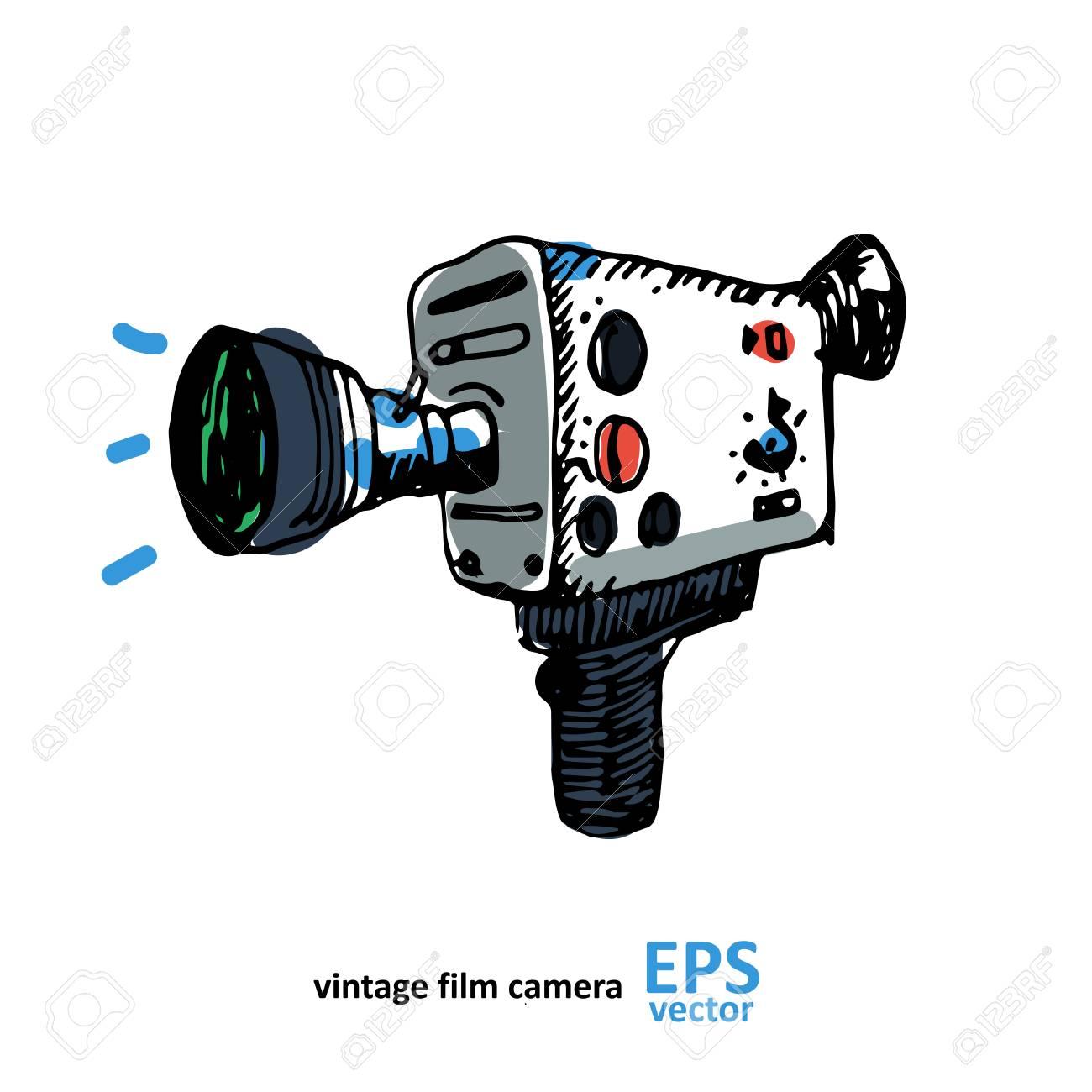 Vintage Dessin De La Camera Video Sur Un Fond Blanc Illustration Clip Art Libres De Droits Vecteurs Et Illustration Image 59837772