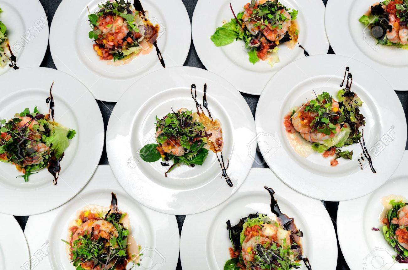 top view of dishes with contemporary salads for a banquet stock  - top view of dishes with contemporary salads for a banquet stock photo