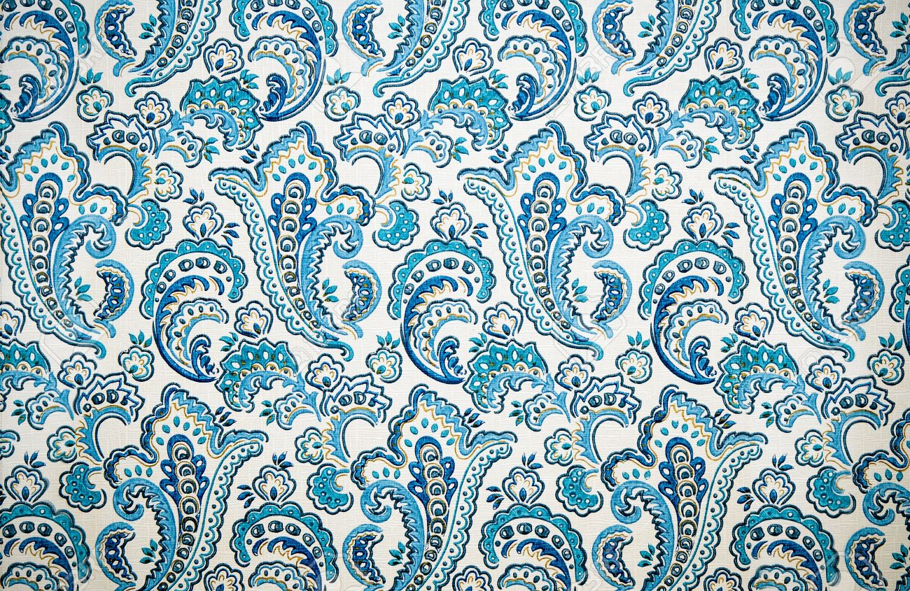 Retro Texture Of Wallpaper With Blue Vintage Floral Designs Stock Photo