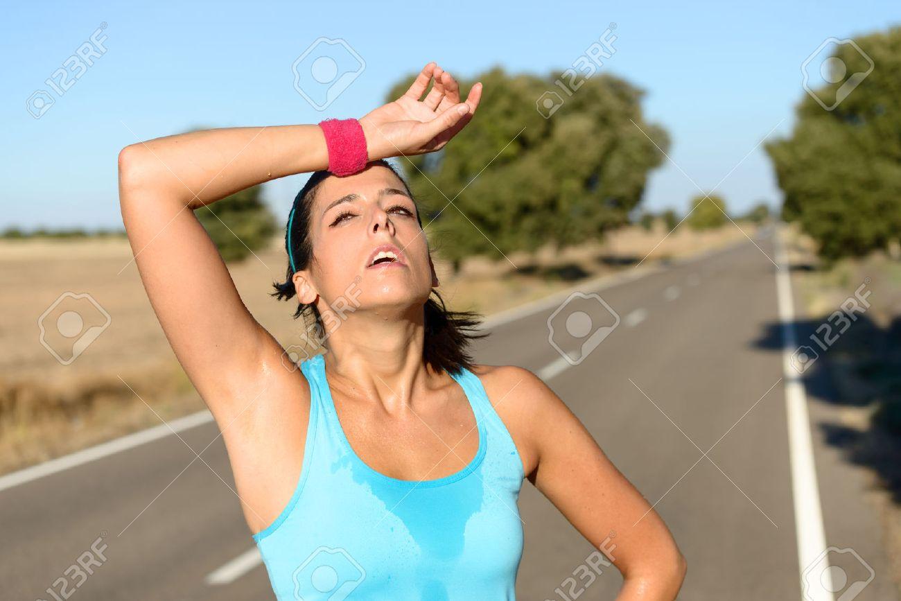 femme en sueur