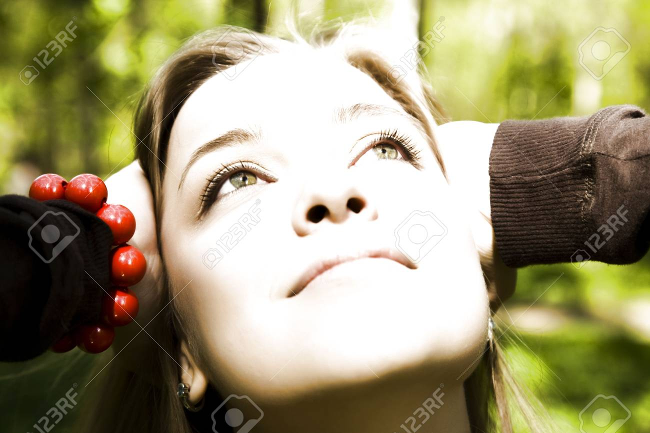 Dreaming. Yound Woman Relaxing In The Forest. Stock Photo - 3018886