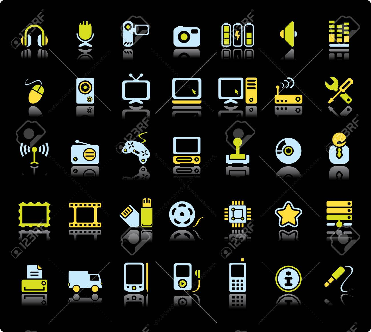 Web Vector Icon Set On Black Background. Audio And Video Symbols. Stock Vector - 3878342