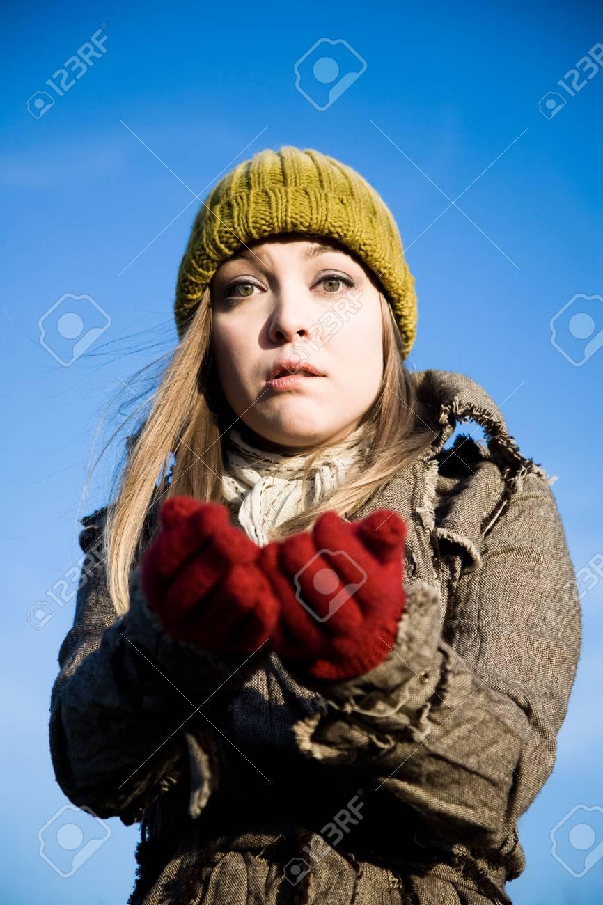 Young Woman Asking Alms. World Finacial Crisis Series. Stock Photo - 3873611