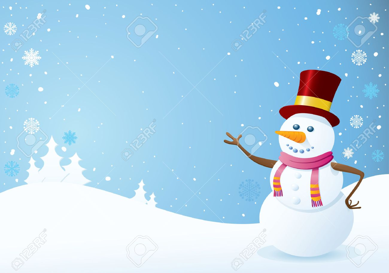 Snowman On Christmas Background. Christmas Backgrounds Series ...