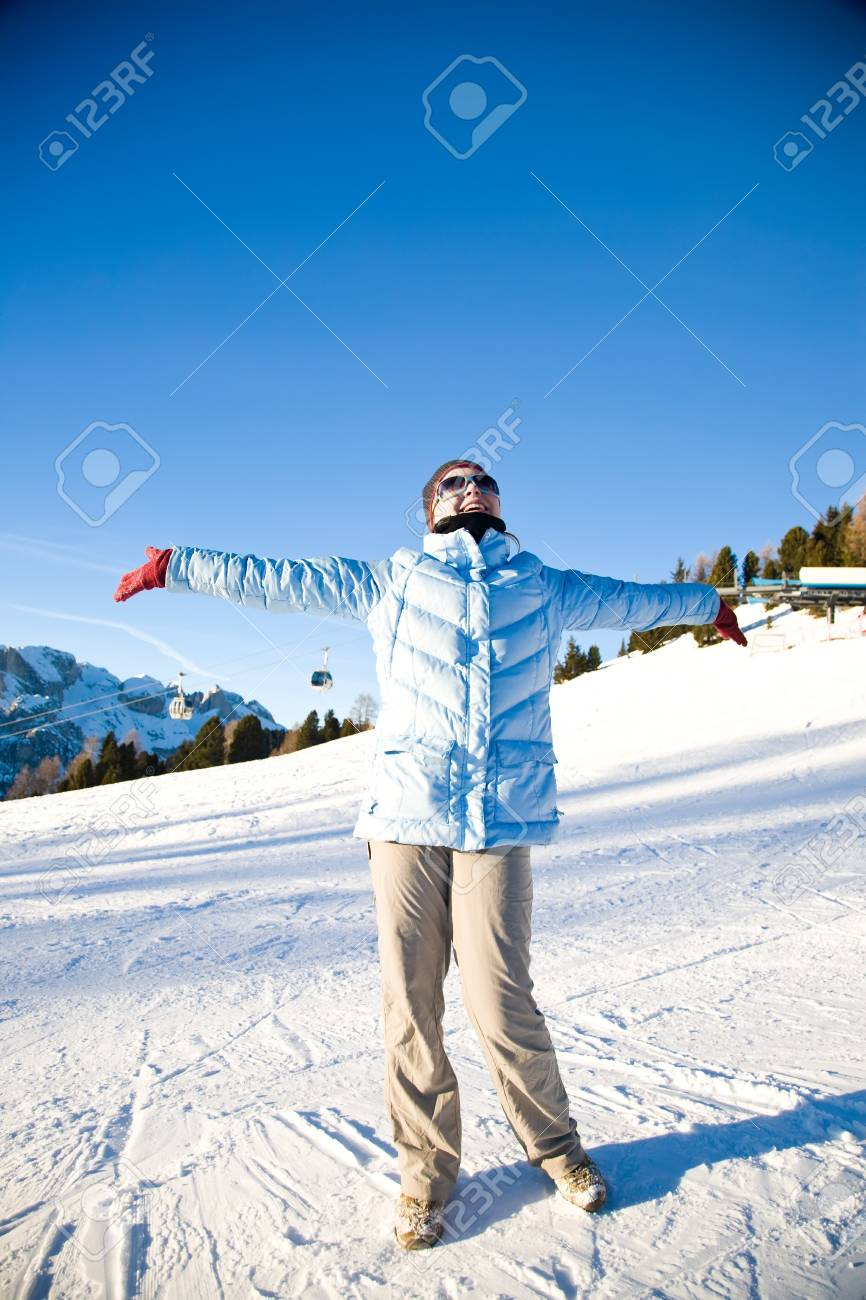 Happy Holiday. Beautiful Woman Relaxing Under The Sunlight In Italian Alps. Stock Photo - 4281514