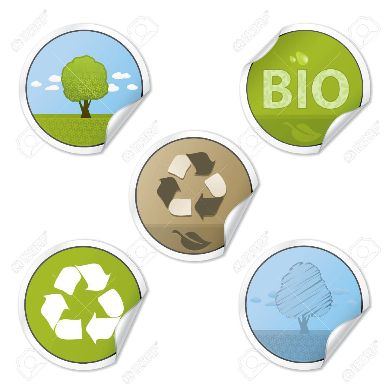 Set Of Ecology Style Vector Stickers Stock Vector - 4962740
