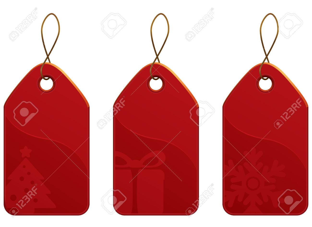 Vector Christmas Red Tag Set. Christmas shopping collection. Stock Vector - 5558378