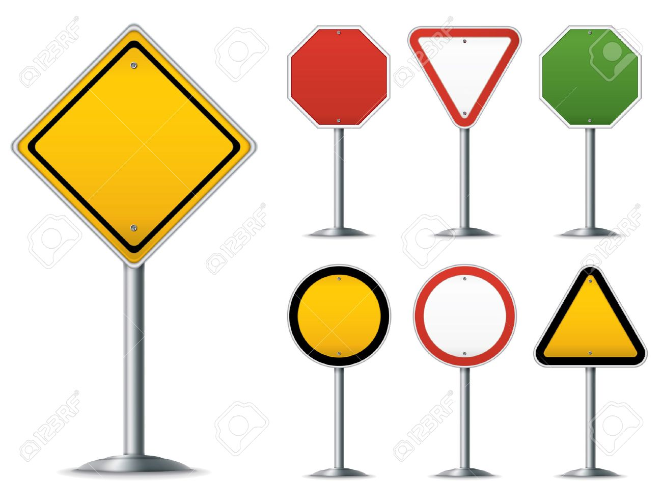 Blank traffic sign set. Easy to edit vector image. Stock Vector - 5582725