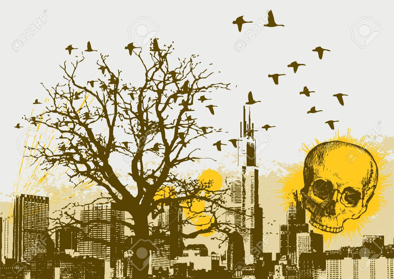 Grunge Cityscape Vector Background with Skull Stock Vector - 2611234