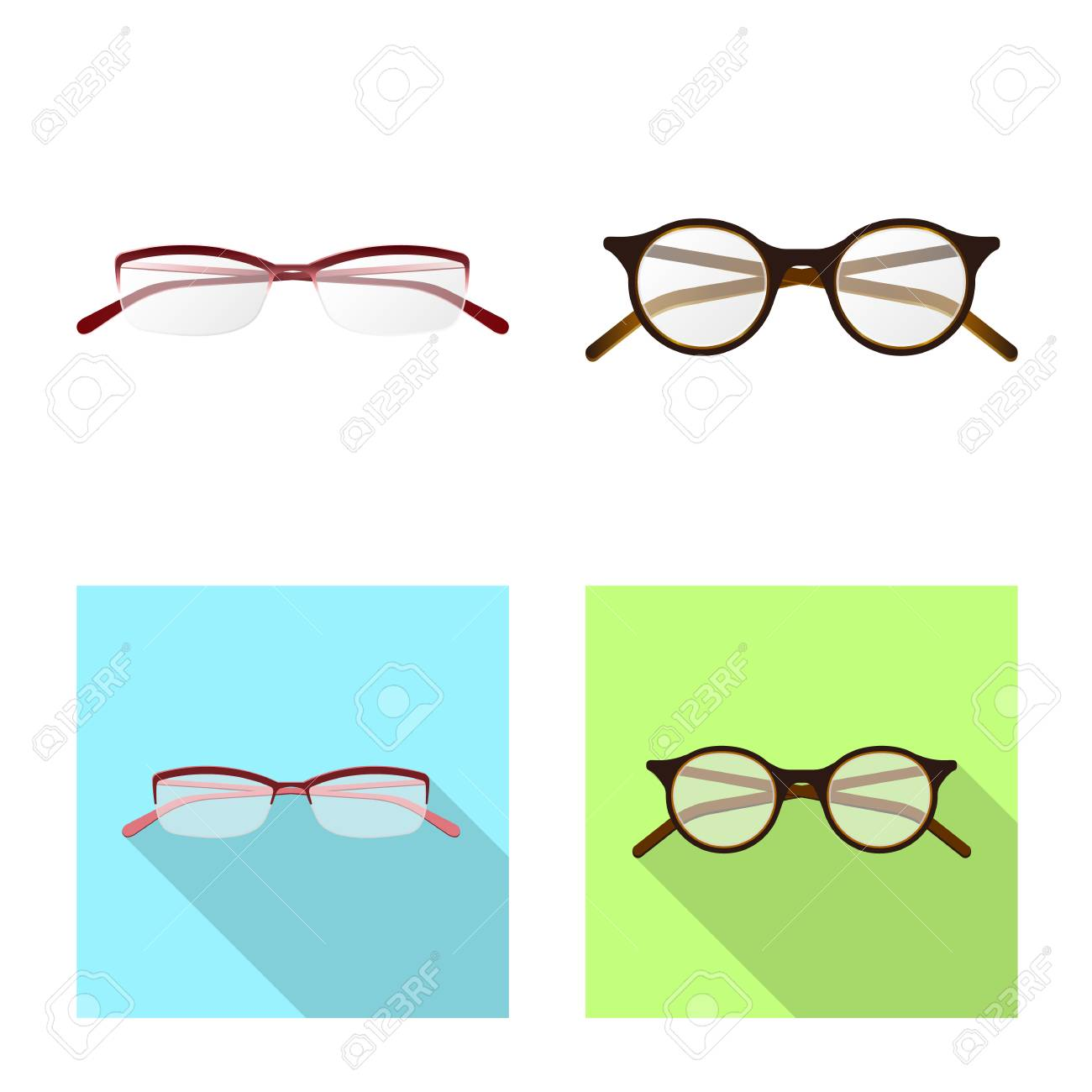 44bb6ee1268d Isolated object of glasses and frame symbol. Collection of glasses and  accessory stock vector illustration