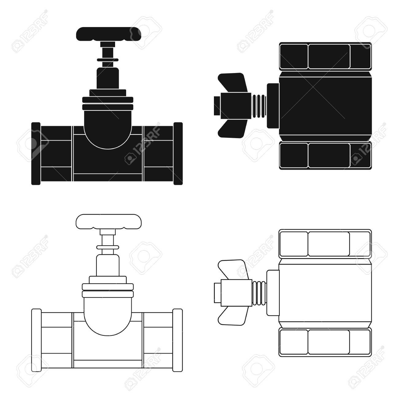 Vector Design Of Pipe And Tube Symbol Set Pipeline Piping Diagram Symbols Pictures Icon For Stock