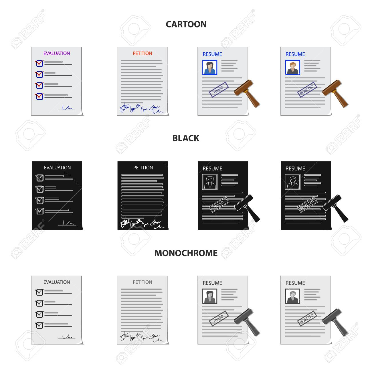 Vector design of form and document icon  Set of form and mark
