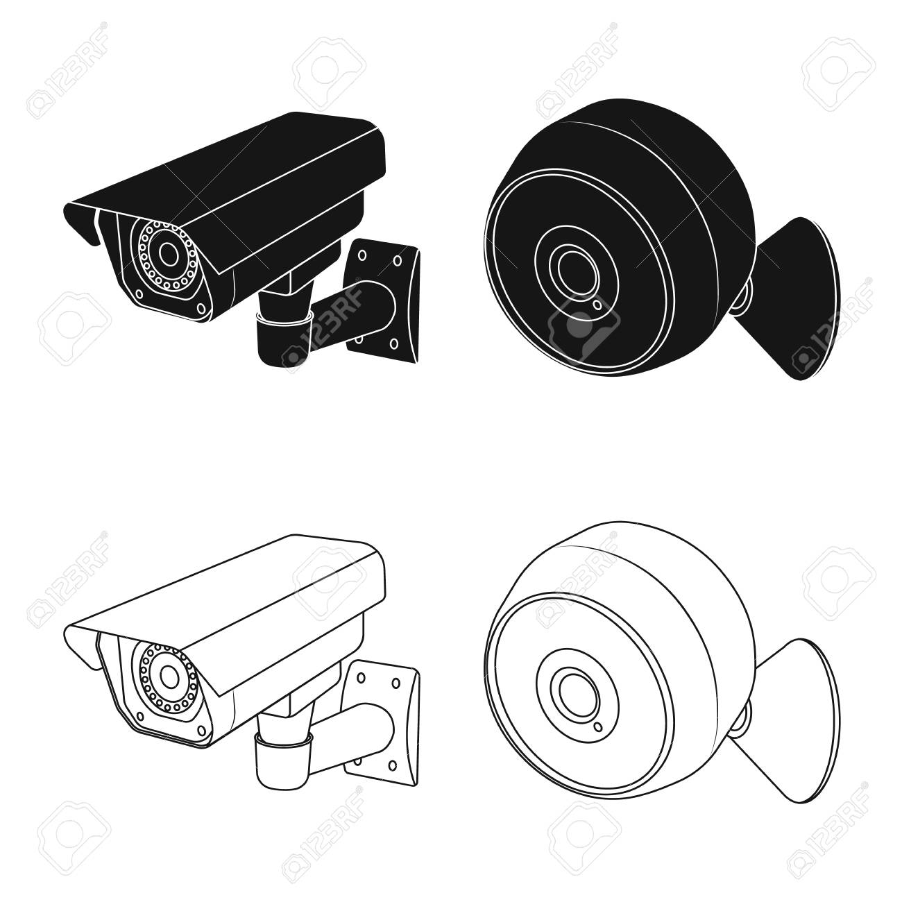 isolated object of cctv and camera symbol collection of cctv Product Camera System isolated object of cctv and camera symbol collection of cctv and system stock symbol for