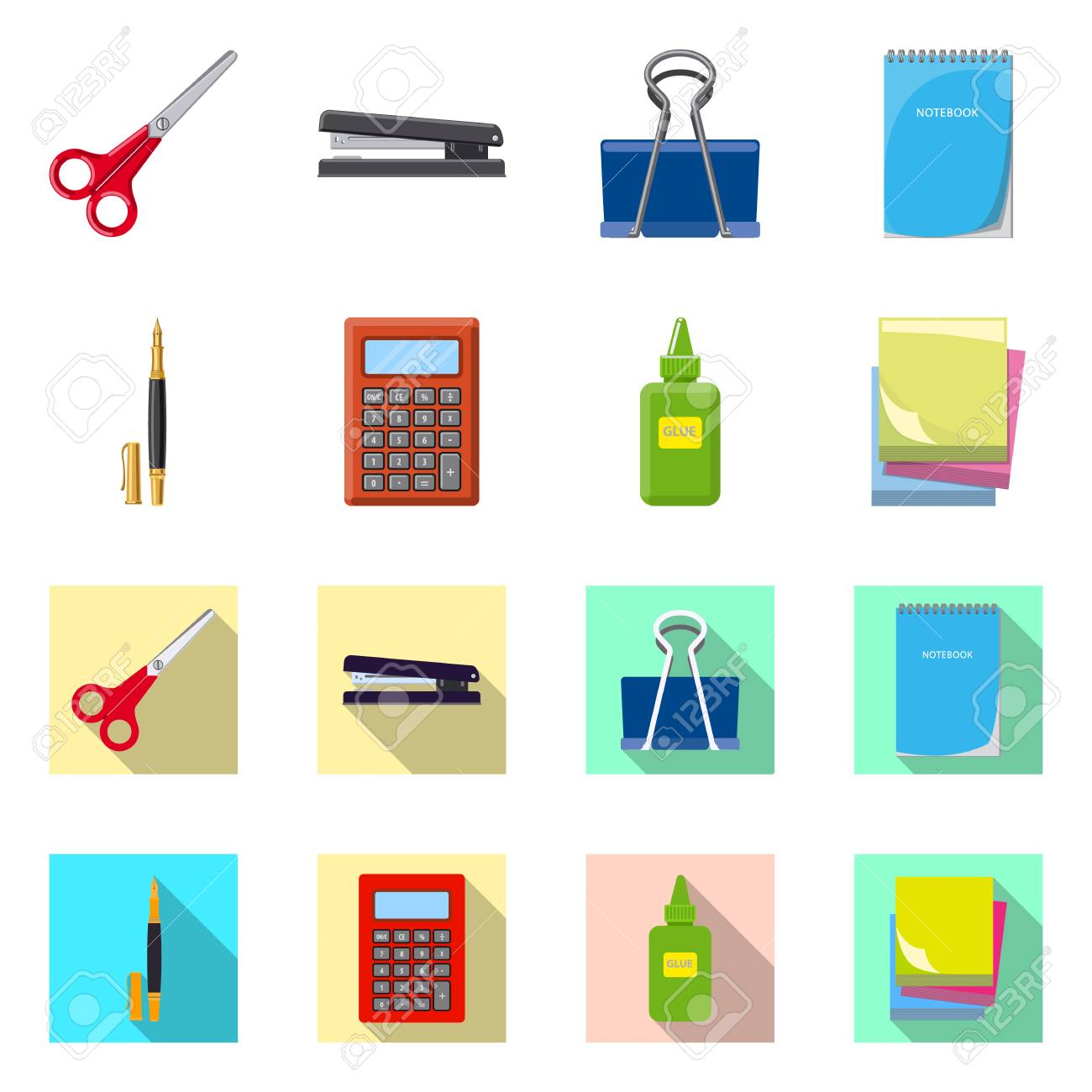 Vector illustration of office and supply sign. Set of office and school stock vector illustration. - 111224819