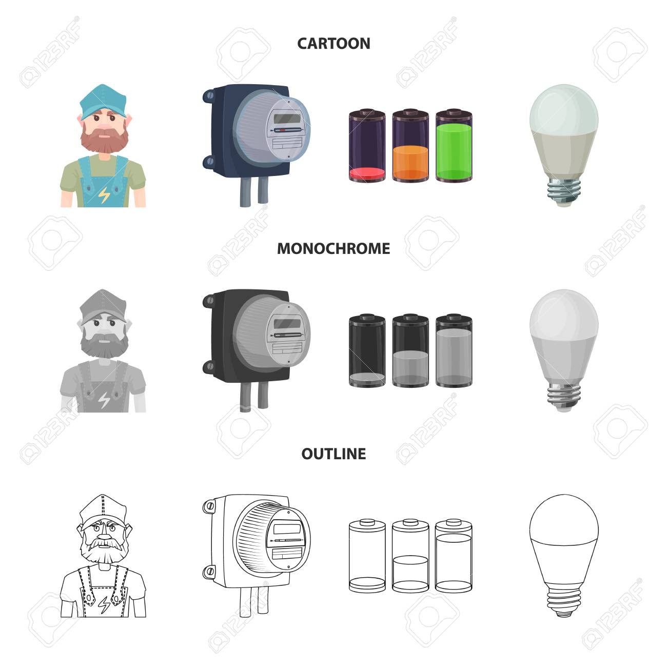 Vector Illustration Of Electricity And Electric Symbol Collection