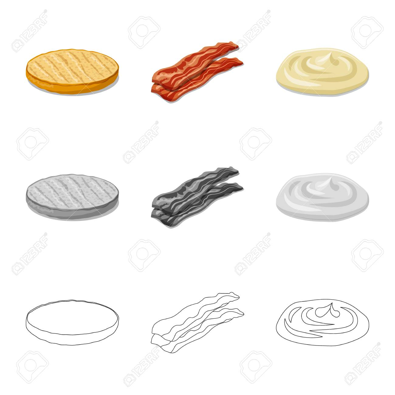 Isolated object of burger and sandwich symbol. Set of burger and slice stock vector illustration. - 113339174