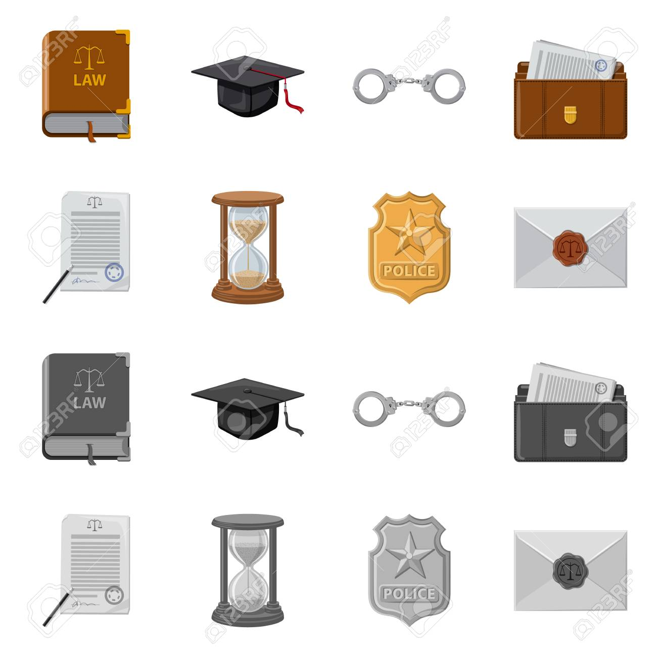 Vector design of law and lawyer symbol. Set of law and justice vector icon for stock. - 114851941