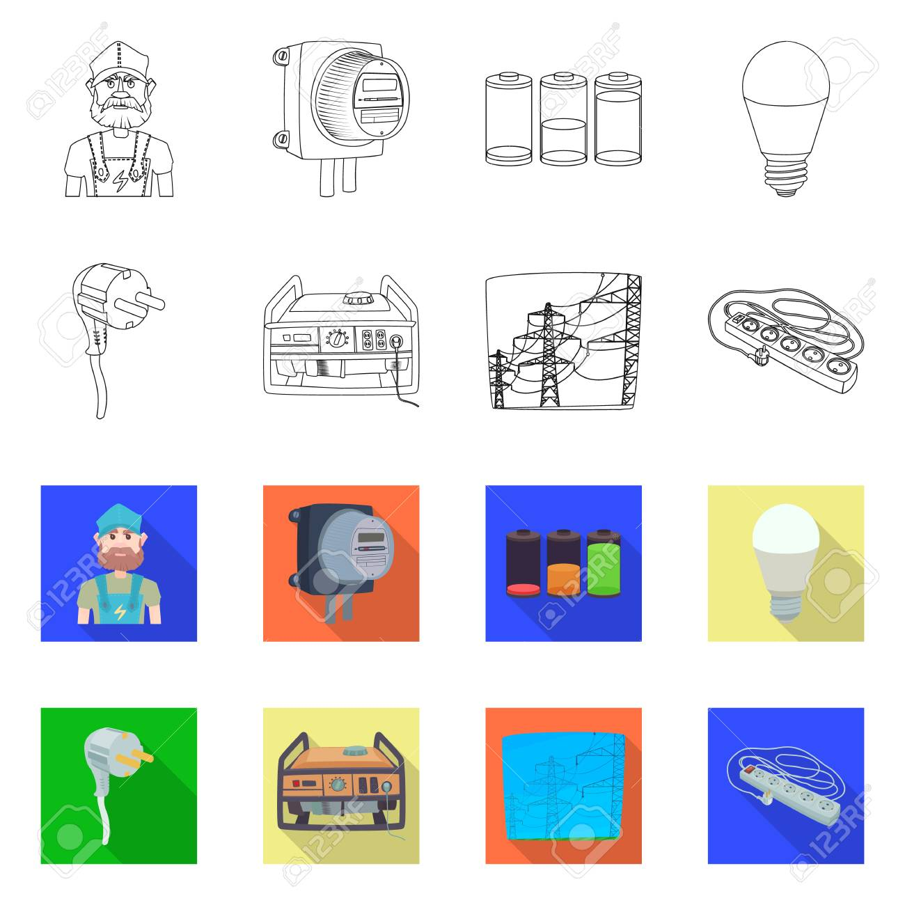 Vector Design Of Electricity And Electric Sign Collection Of