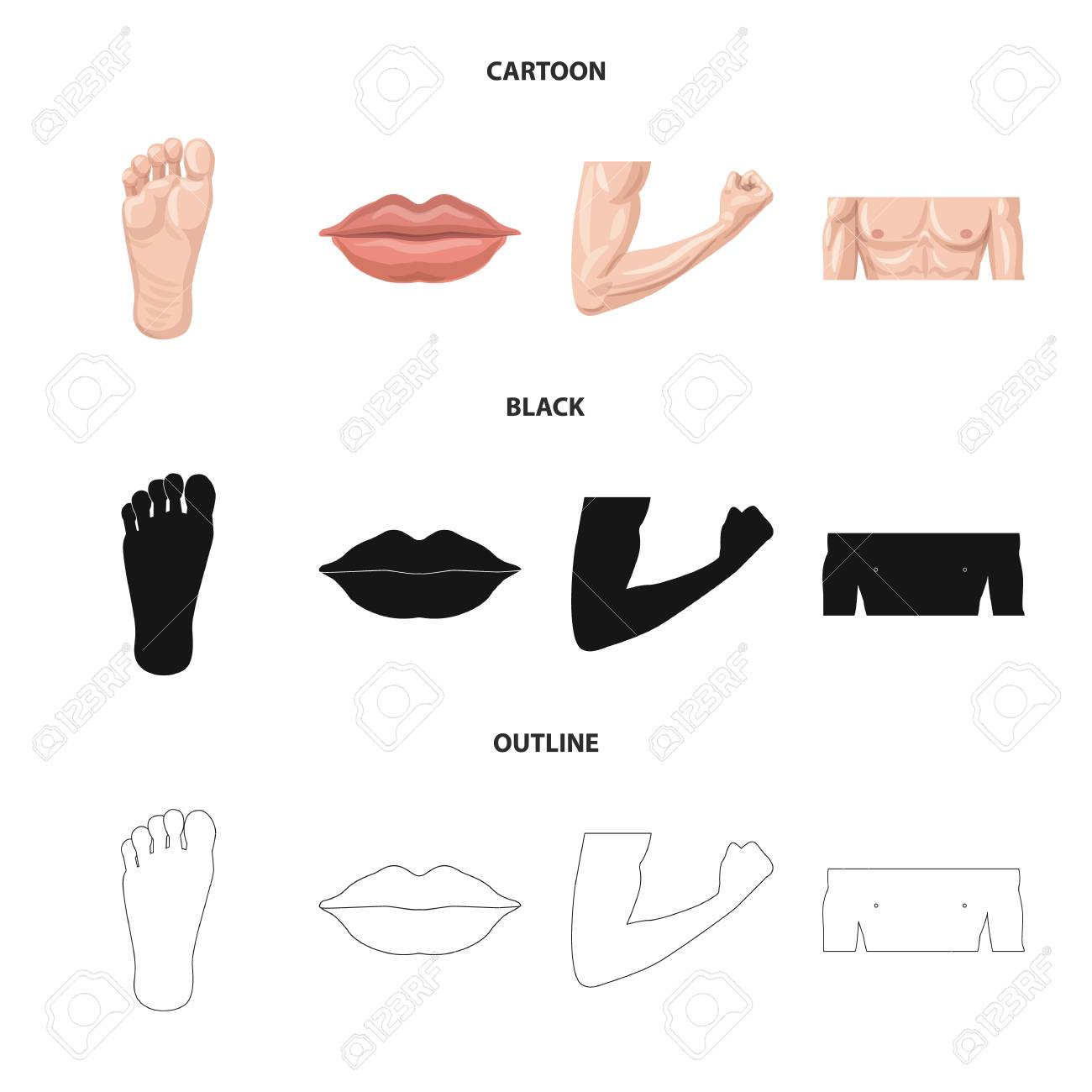 Vector illustration of human and part symbol. Collection of human and woman vector icon for stock. - 117033103