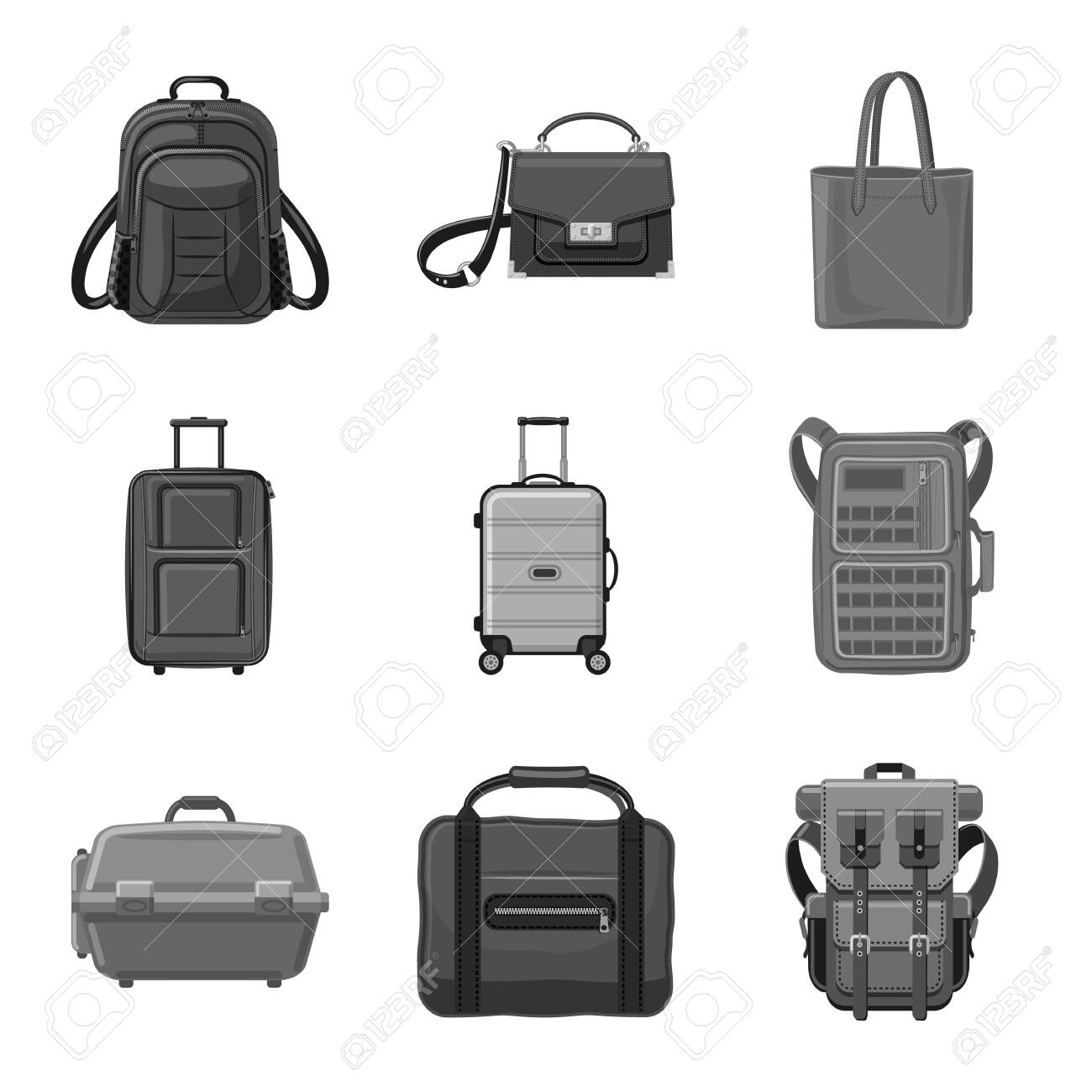 Vector design of suitcase and baggage symbol. Collection of suitcase and journey vector icon for stock. - 122300964