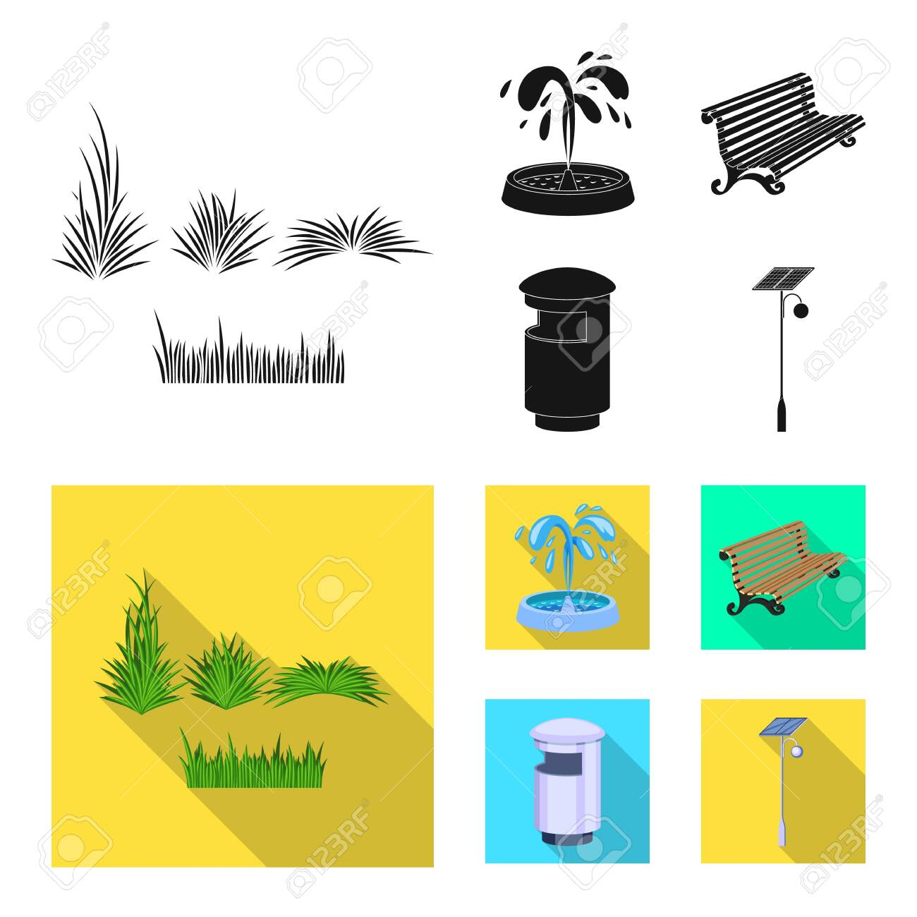 Vector design of urban and street icon. Set of urban and relaxation stock vector illustration. - 122425924