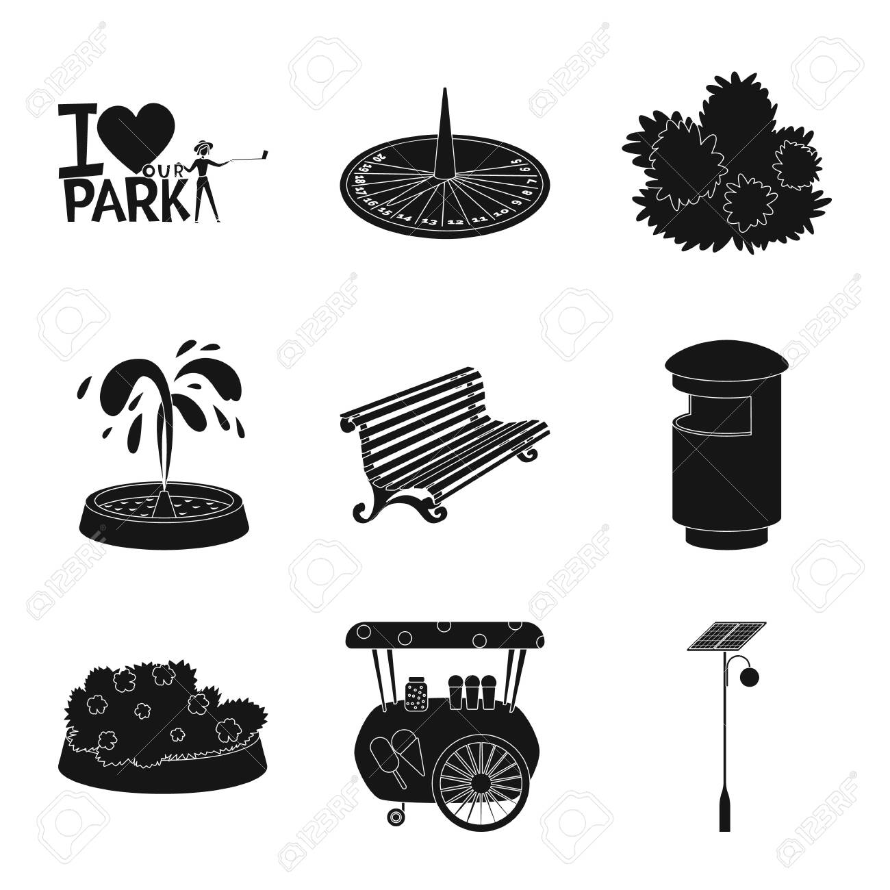 Isolated object of public and relaxation sign. Collection of public and park vector icon for stock. - 123654988