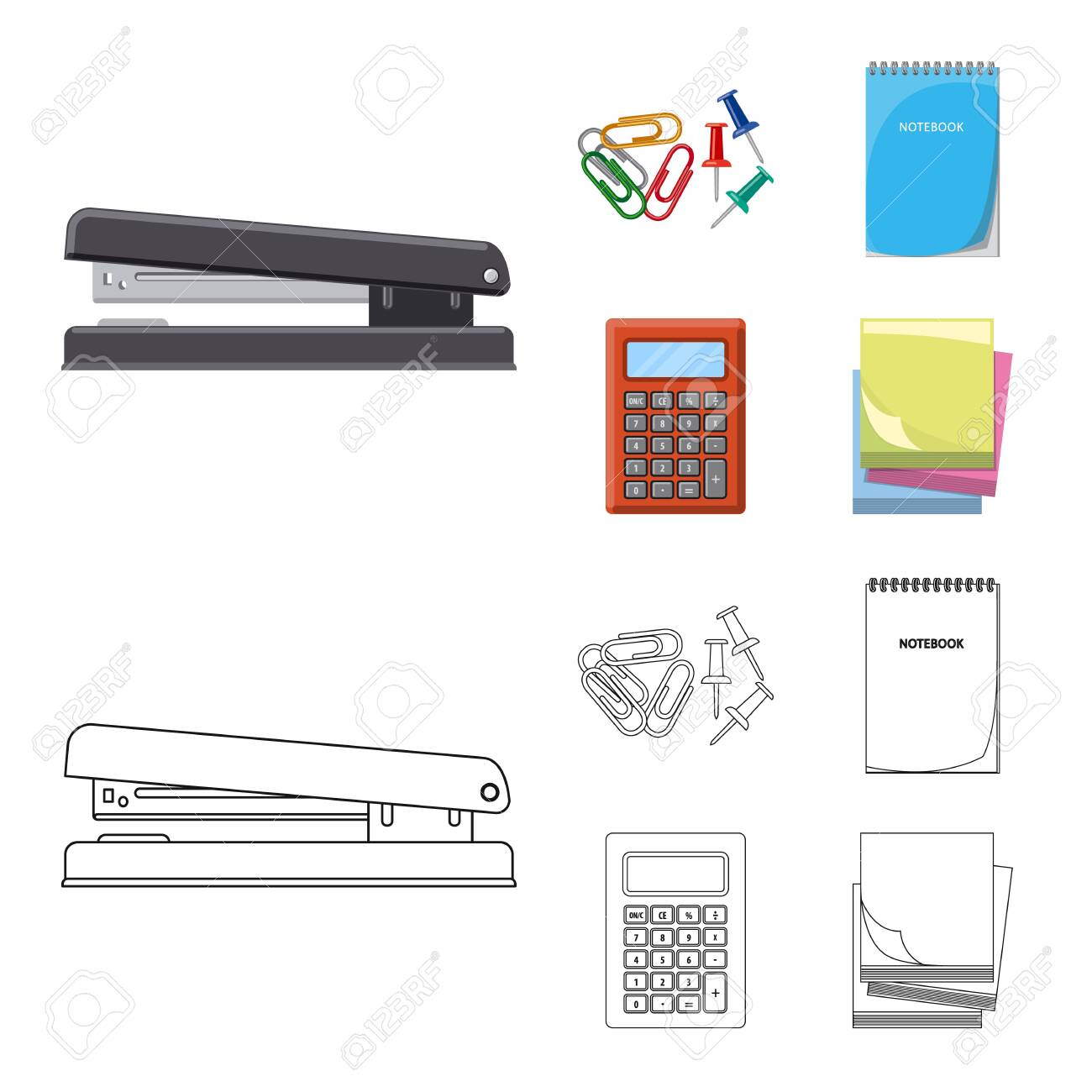 Isolated object of office and supply logo. Collection of office and school stock symbol for web. - 124333215