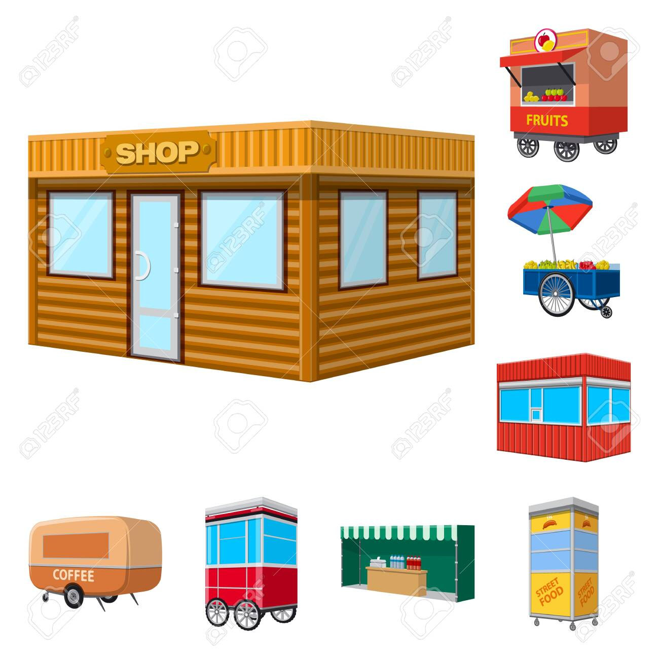 Vector illustration of booth and kiosk icon. Set of booth and small vector icon for stock. - 124923111
