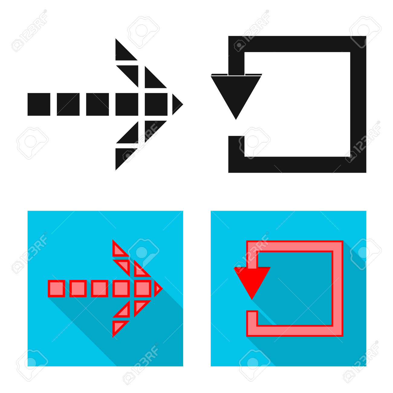 Vector illustration of element and arrow icon. Collection of element and direction vector icon for stock. - 126784362