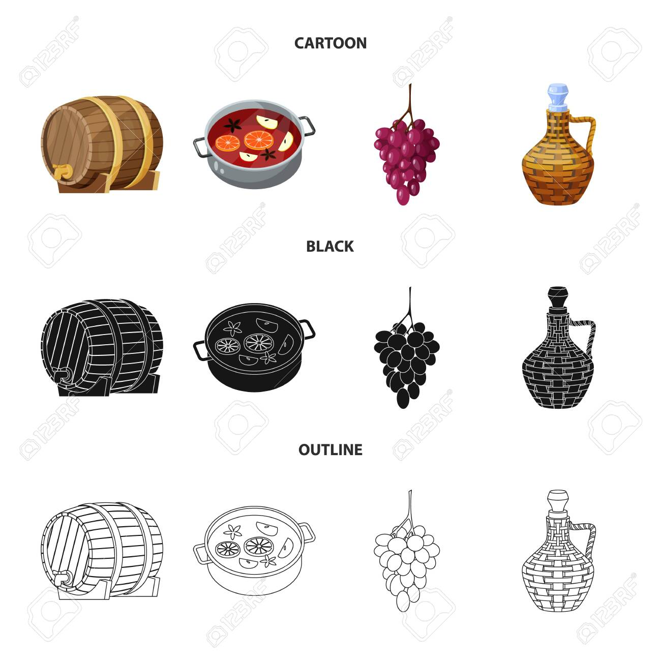Vector design of farm and vineyard icon. Collection of farm and product stock symbol for web. - 128481825