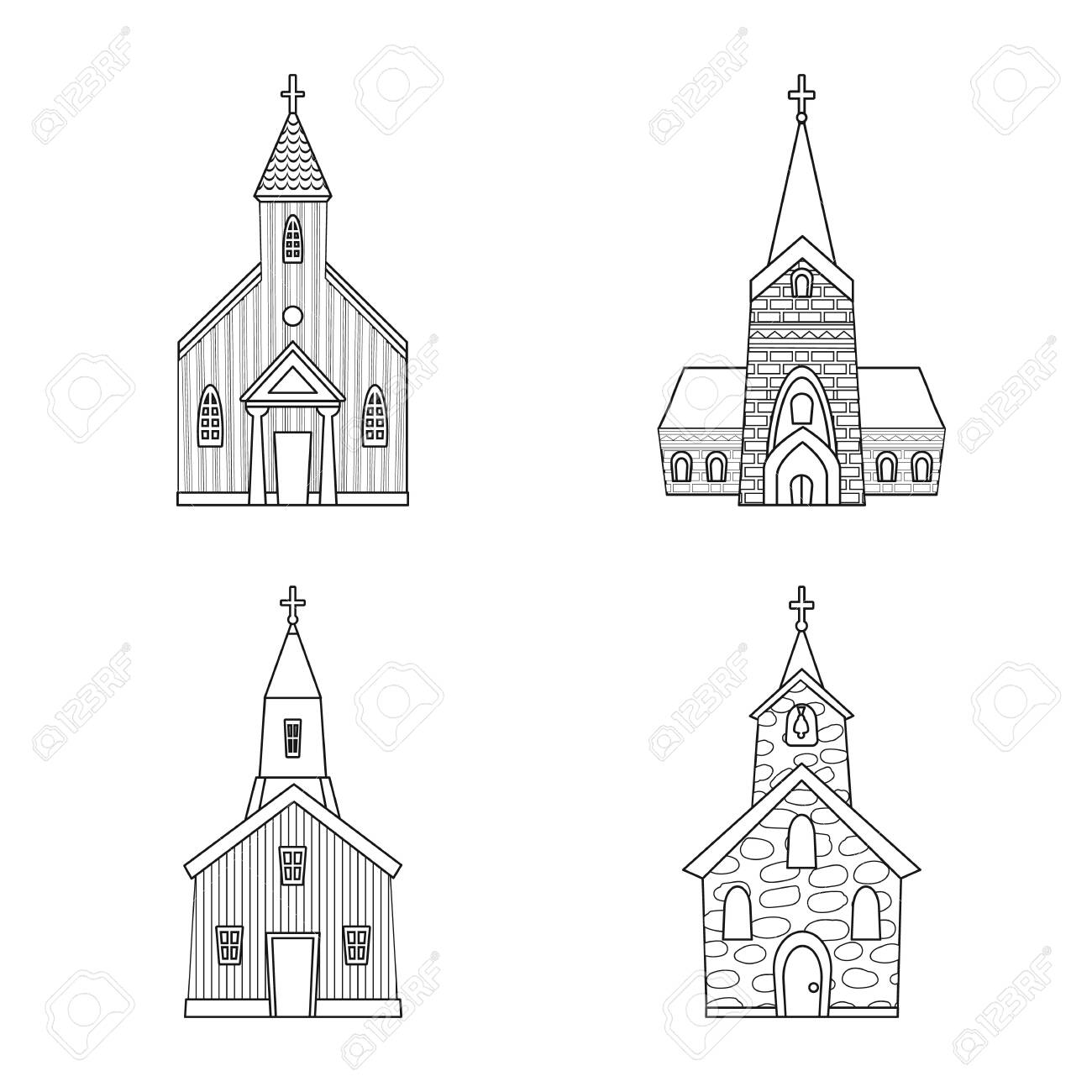 Isolated object of architecture and faith sign. Collection of architecture and temple stock vector illustration. - 128645256