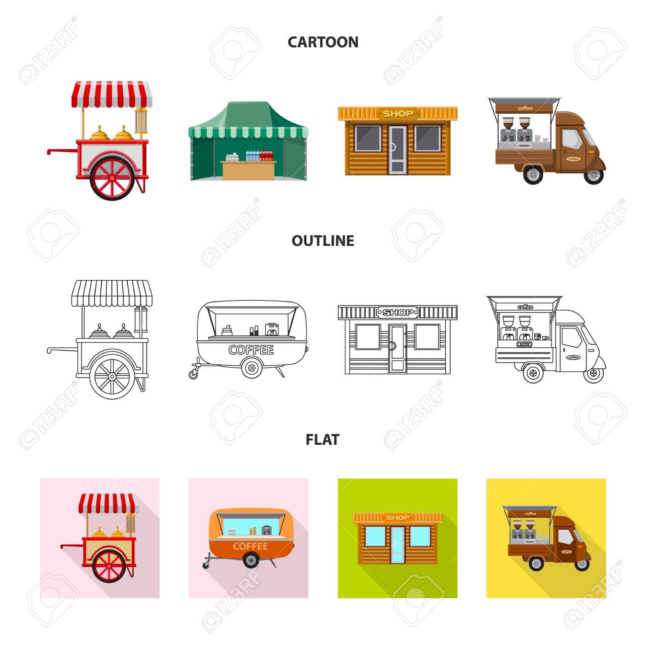 Vector design of market and exterior . Collection of market and food stock vector illustration. - 130644893