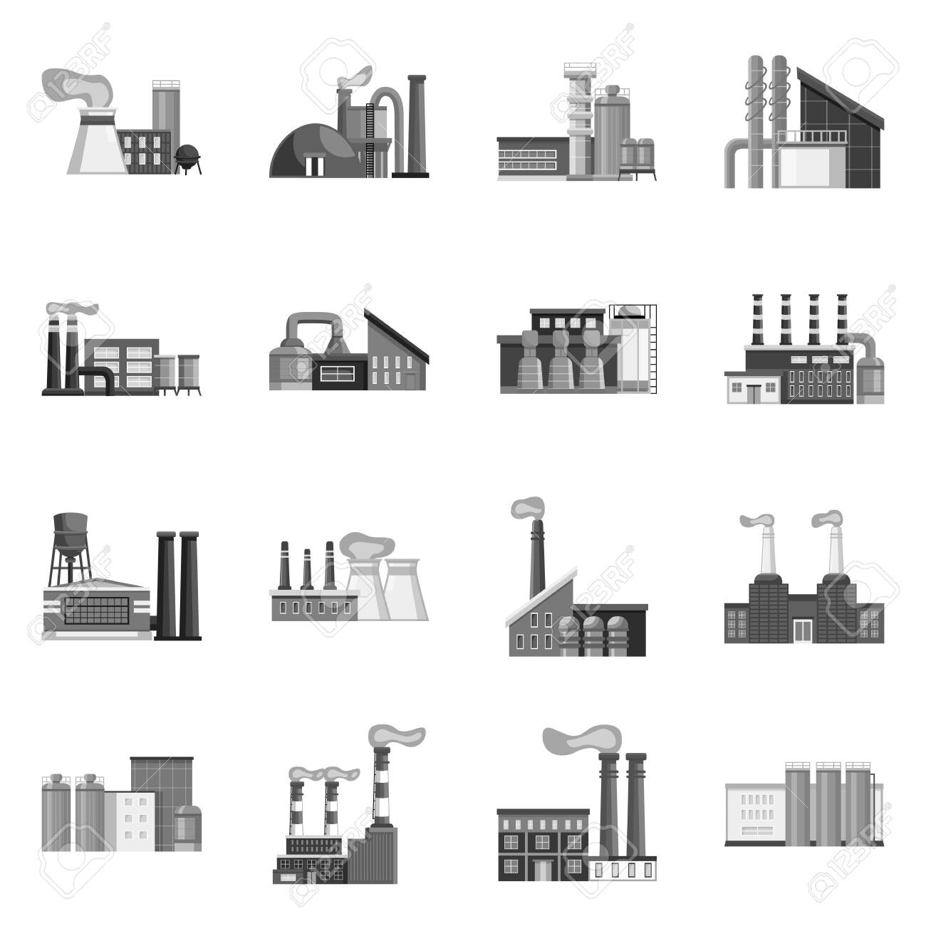 Vector illustration of industry and plant sign. Set of industry and manufacturing vector icon for stock. - 130013816
