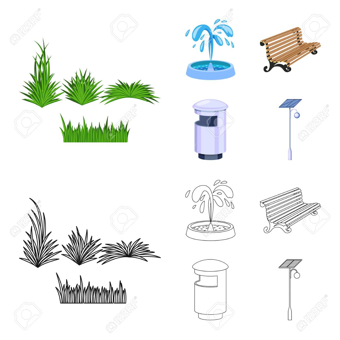 Isolated object of urban and street icon. Collection of urban and relaxation vector icon for stock. - 129592702