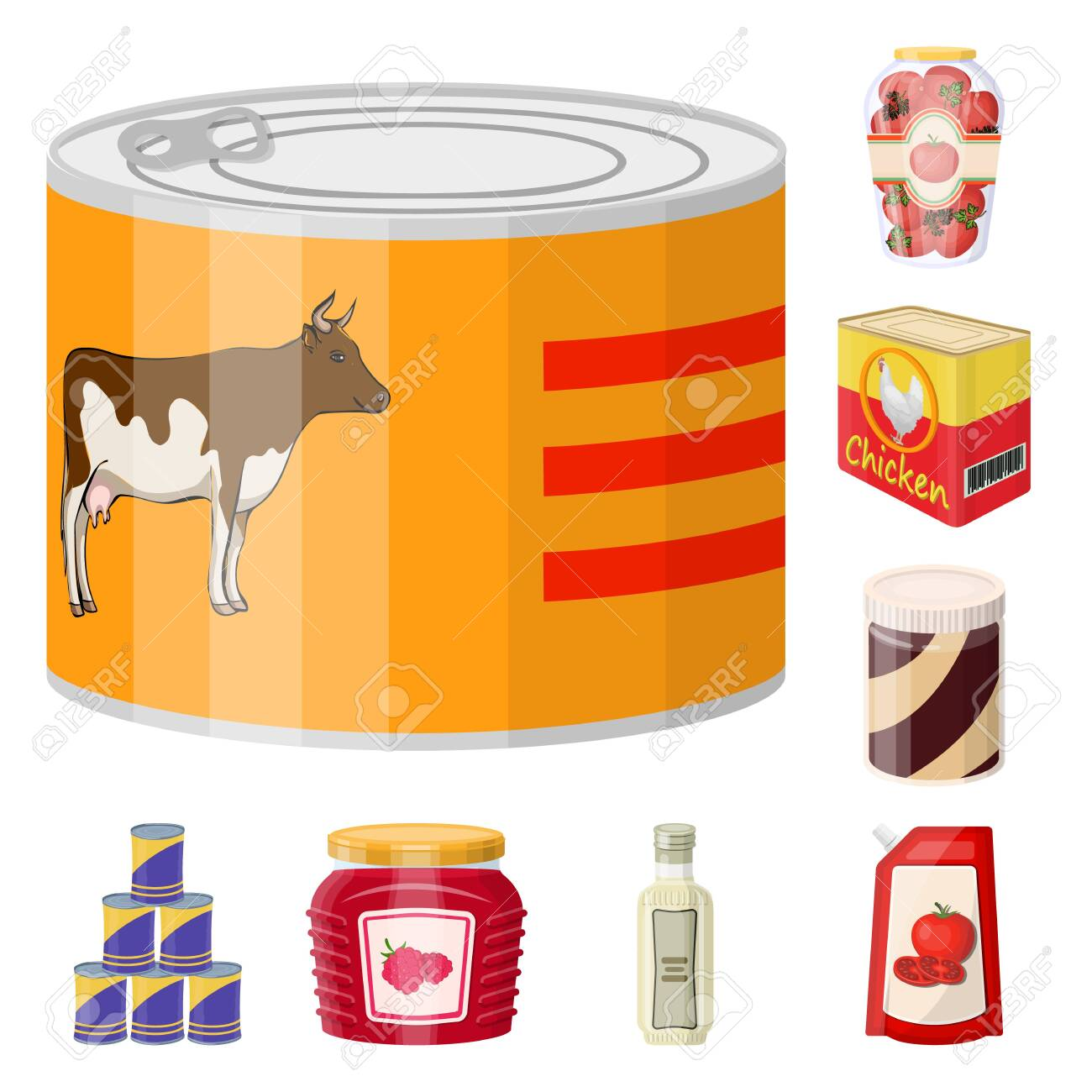 Vector design of can and food. Set of can and package stock vector illustration. - 129875408