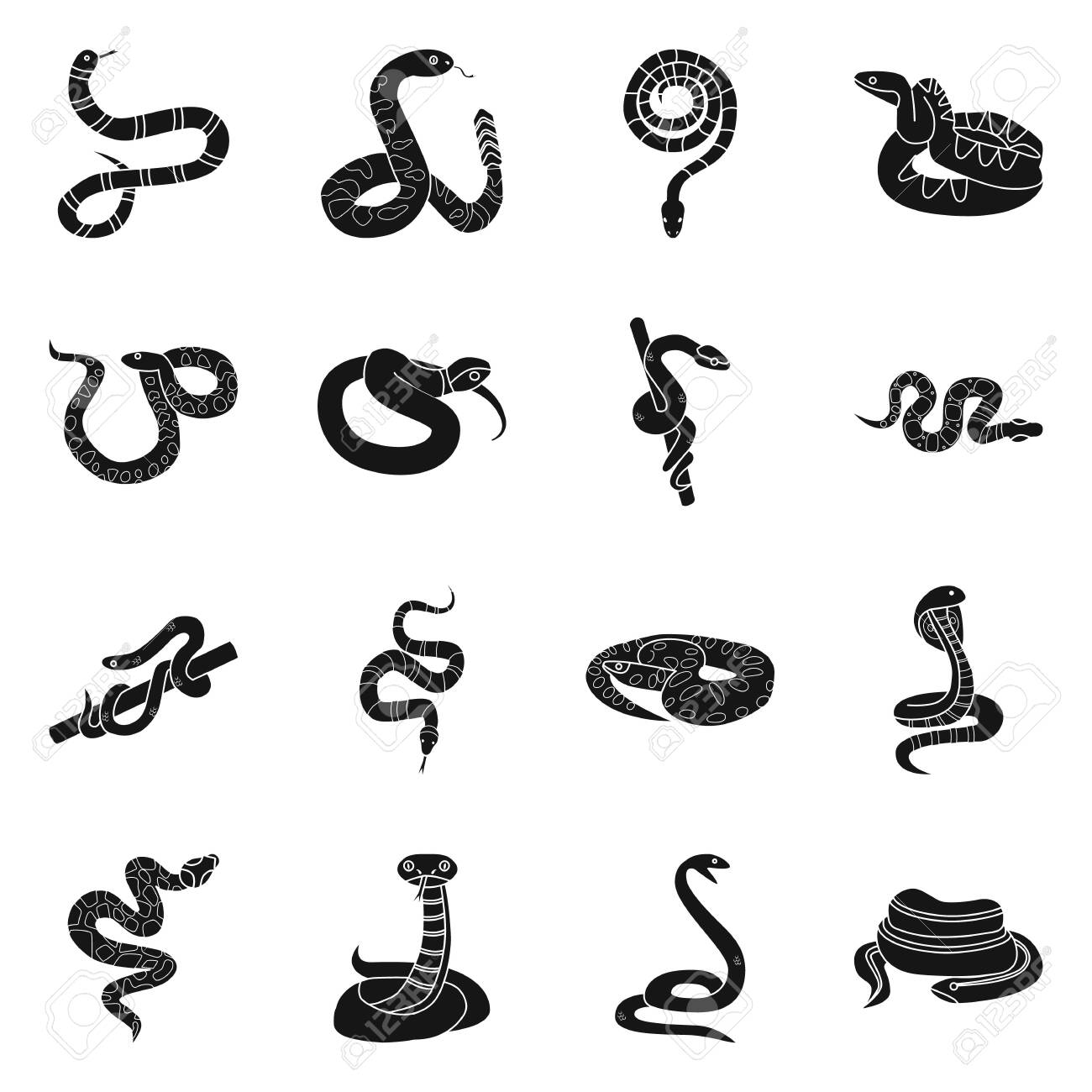Vector illustration of snake and creepy icon. Set of snake and poison vector icon for stock. - 130647880