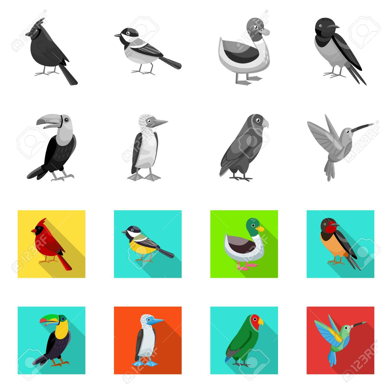 Isolated object of animal and wild. Collection of animal and natural vector icon for stock. - 132819768