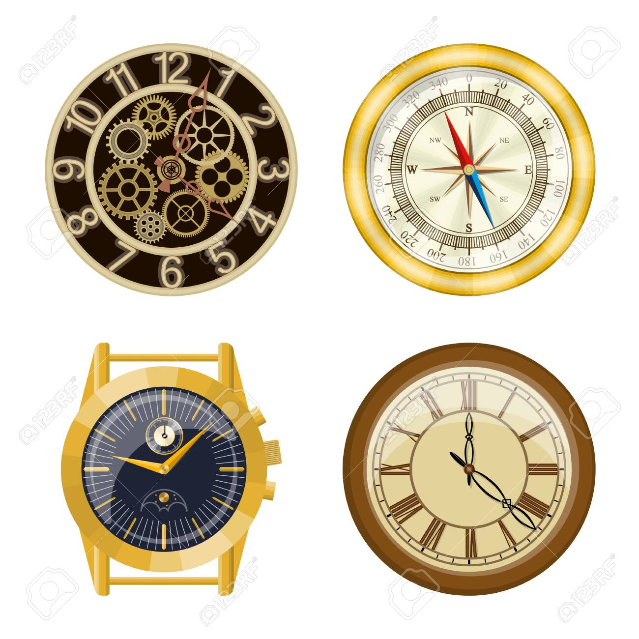 Vector design of clock and time icon. Collection of clock and circle stock vector illustration. - 134582411