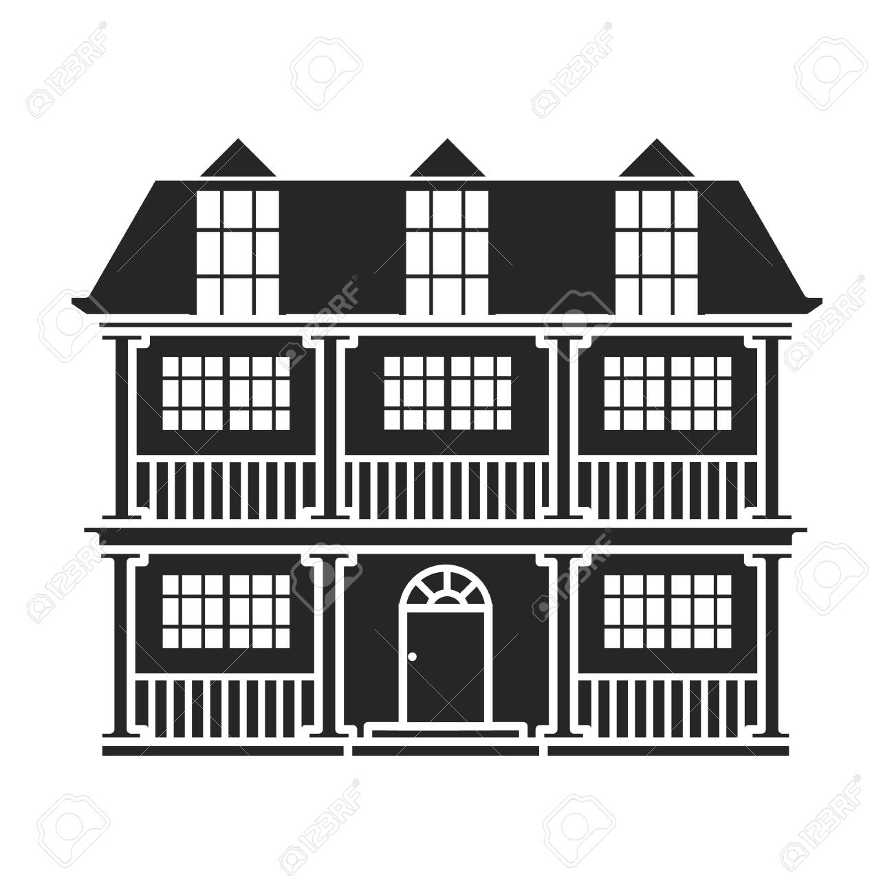 Building of apartment vector icon.Black,simple vector icon isolated on white background building of apartment. - 138760822