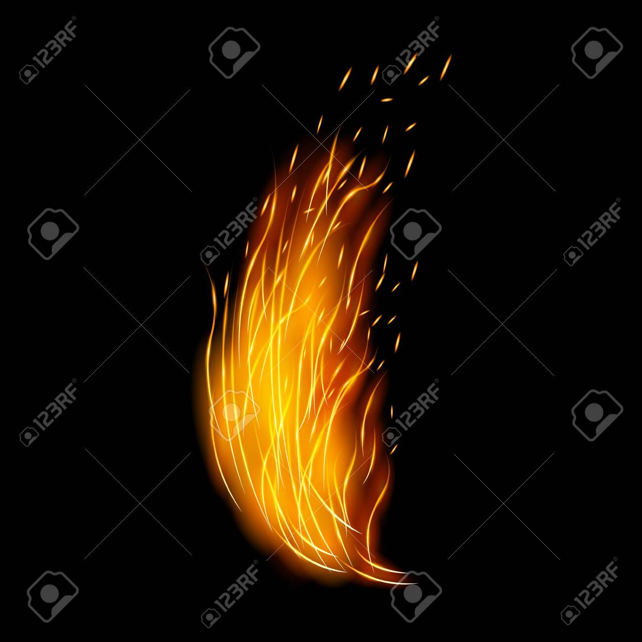 Flame vector icon.Realistic vector icon isolated on white background flame. - 143410941