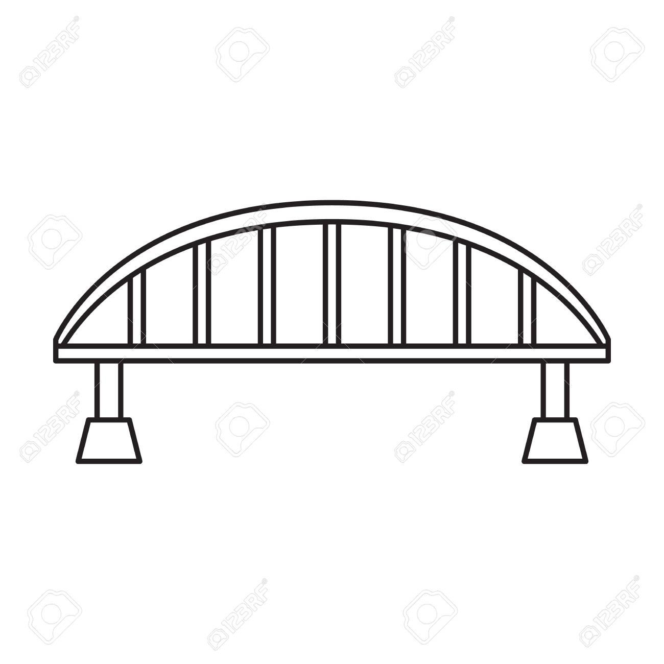 Bridge vector icon.Outline vector icon isolated on white background bridge. - 144100858