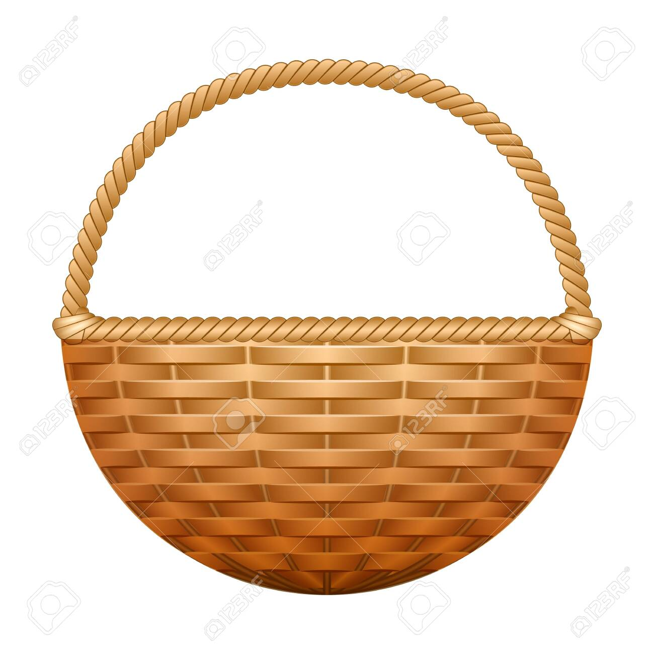 Basket vector icon. Realistic vector icon isolated on white background basket. - 145215514
