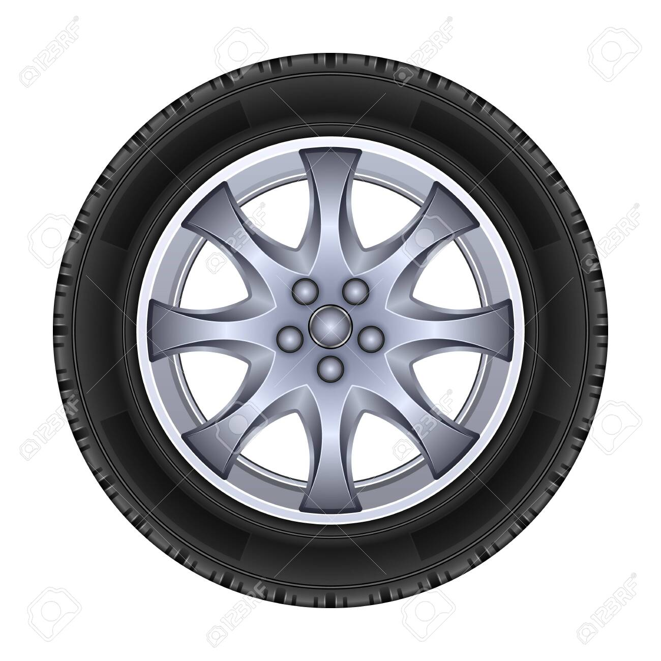 Wheel vector icon.Realistic vector isolated on white background wheel. - 146157215