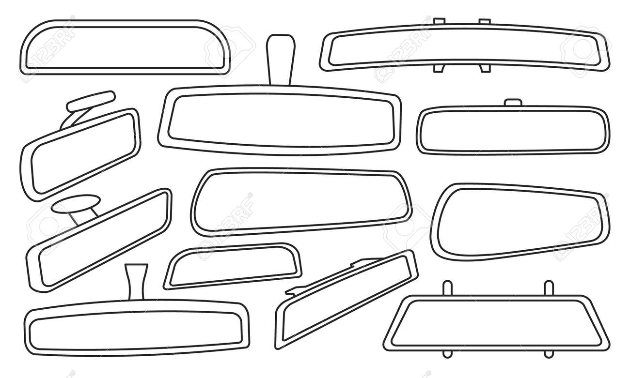 Rear view mirrors isolated outline set icon. Vector outline set icon rearview . Vector illustration rear view mirrors on white background. - 167713505