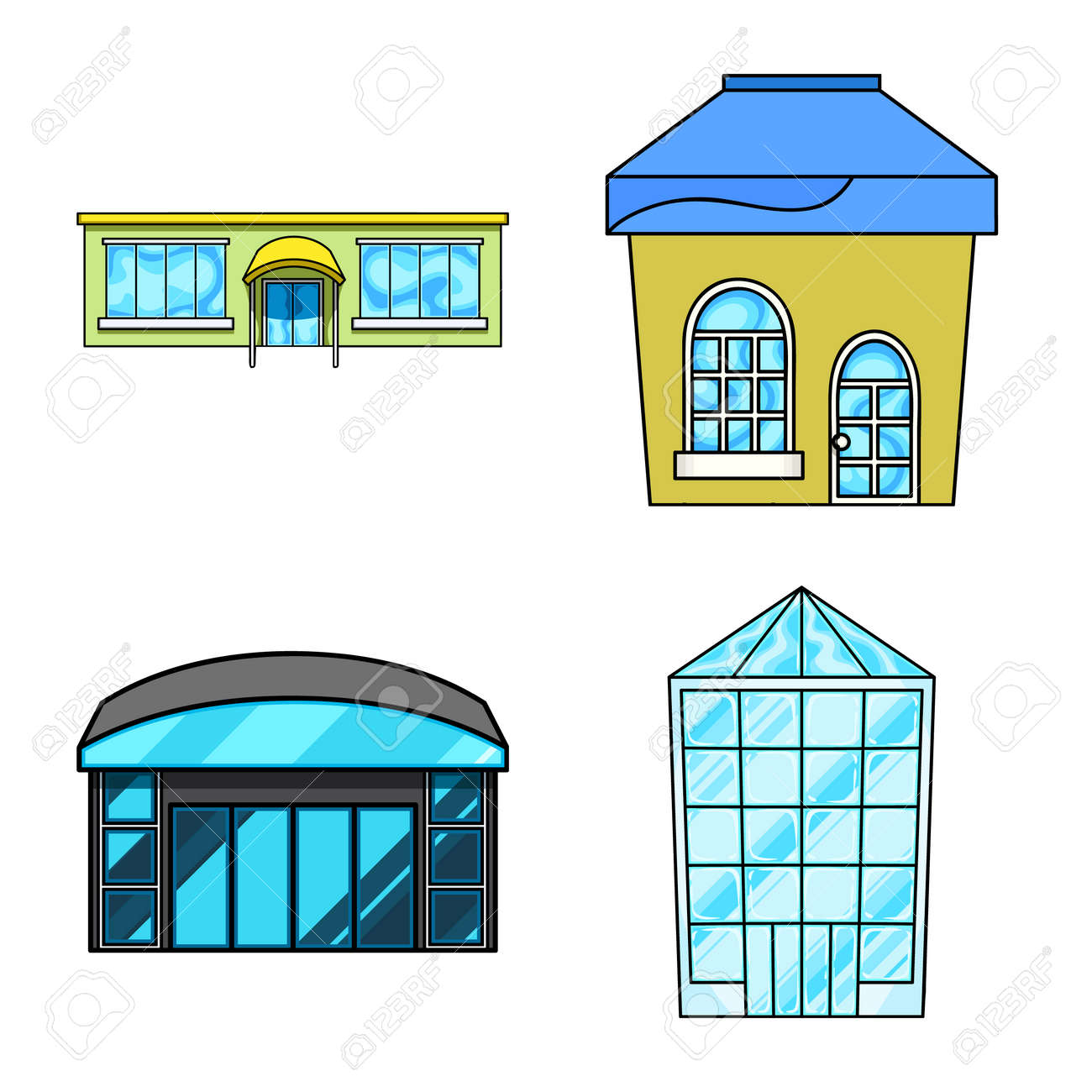 Vector illustration of supermarket and building icon. Set of supermarket and city stock vector illustration. - 168840960