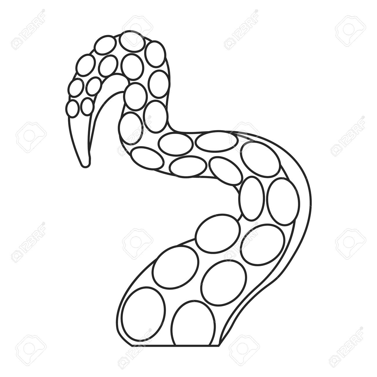 Octopus tentacle vector outline icon. Vector illustration seafood on white background. Isolated outline illustration icon of octopus tentacle. - 167978028
