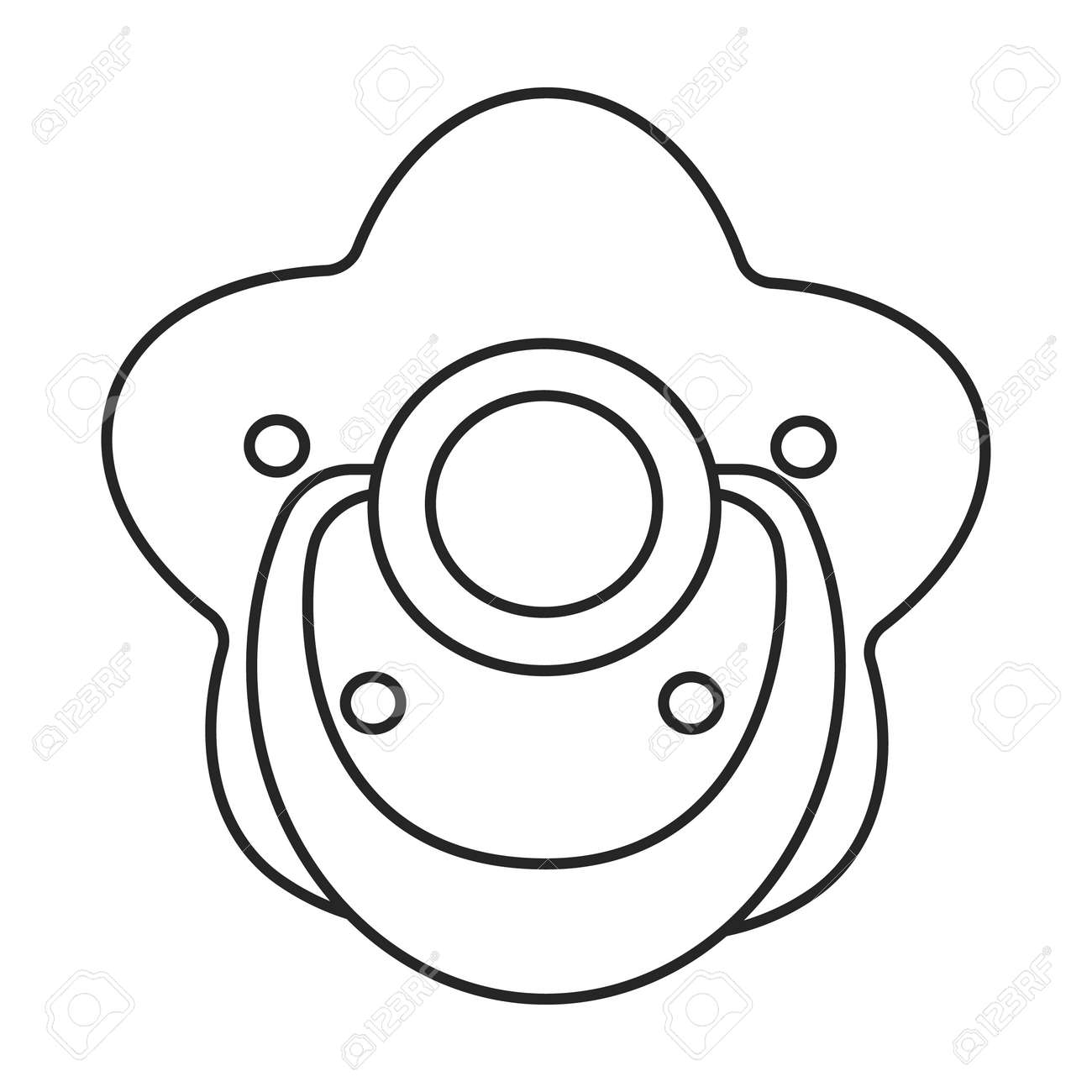 Dummy pacifier vector outline icon. Vector illustration baby on white background. Isolated outline illustration icon of baby dummy pacifier. - 167978034