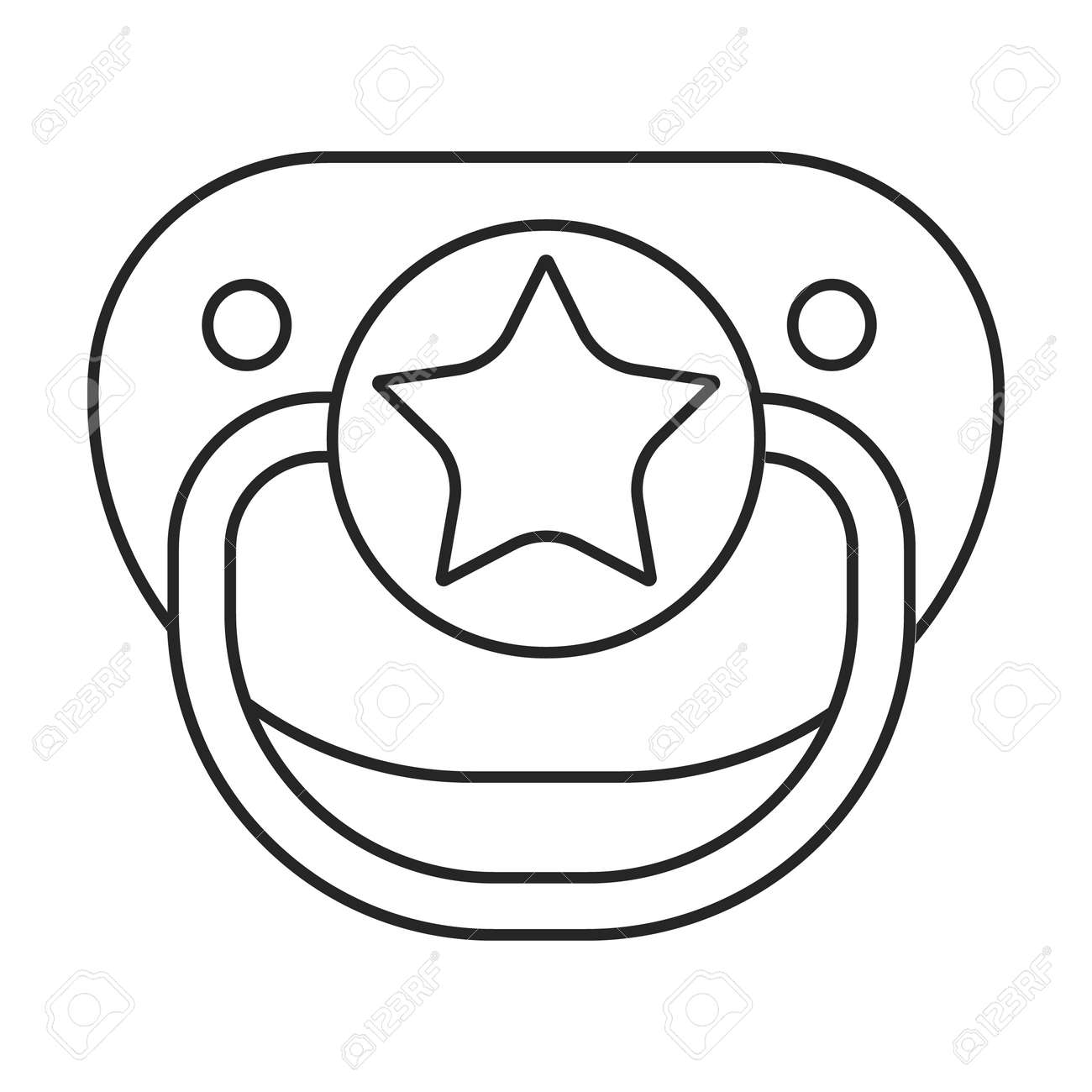 Dummy pacifier vector outline icon. Vector illustration baby on white background. Isolated outline illustration icon of baby dummy pacifier. - 167978044