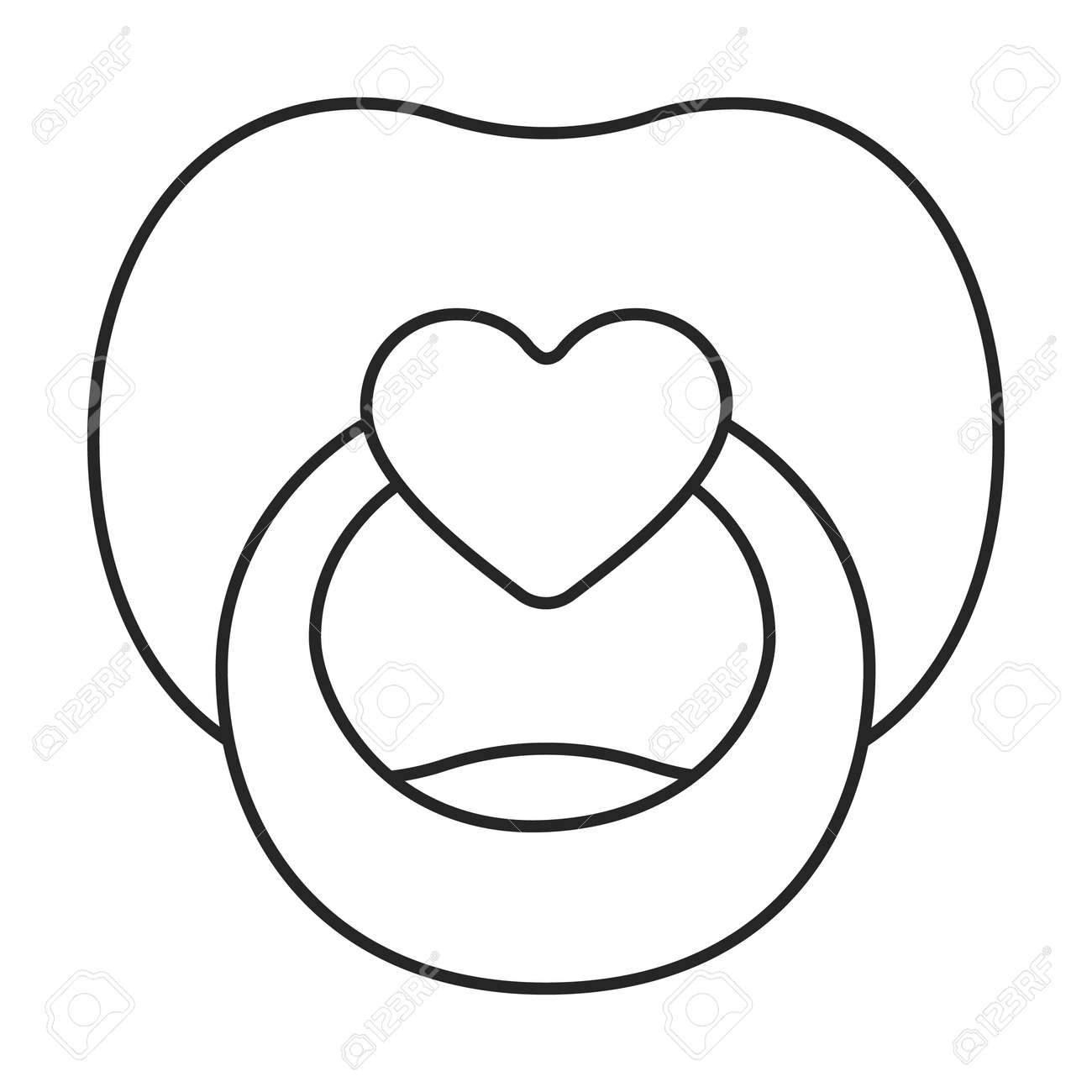 Dummy pacifier vector outline icon. Vector illustration baby on white background. Isolated outline illustration icon of baby dummy pacifier. - 168840964